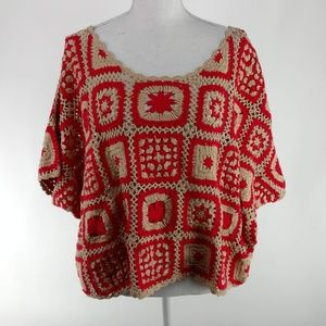 MINKPINK CROCHET RED & TAN OVER SIZED BLOUSE S/M